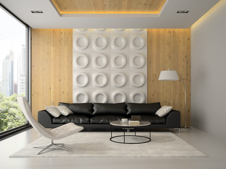 Interior of modern design room with black couch 3D rendering Stockfoto