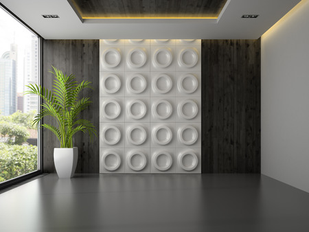 Interior of empty room with wall panel and palm 3D rendering Stock Photo
