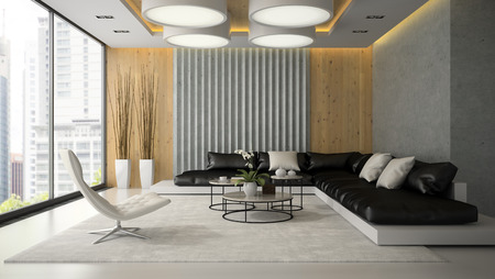 Interior of living room with white armchair 3D rendering Archivio Fotografico
