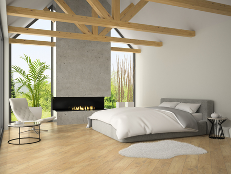 Interior of bedroom with fireplace 3D rendering Archivio Fotografico