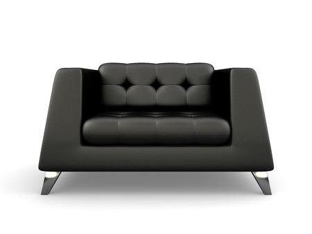 Fotel z czarnej pianki na białym tle renderowania 3D