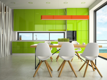 Interior modern design kitchen 3D rendering