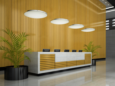 Interior of hotel reception 3D illustration