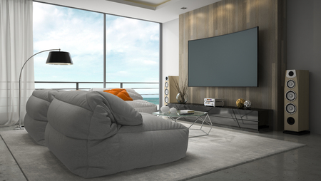 Interior of modern design room 3D rendering Standard-Bild