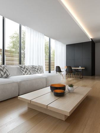 Interior of modern living room with sofa and furniture 3D rendering Stock Photo