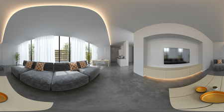 Spherical 360 panorama projection Scandinavian style interior design 3 D rendering Stock Photo