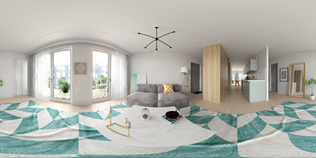 Spherical 360 panorama projection Scandinavian style interior design 3 D rendering Banco de Imagens