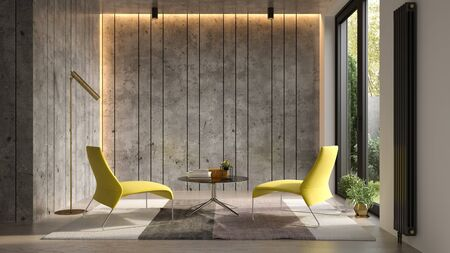 Interior of modern living room with sofa 3 D rendering Imagens - 131796919