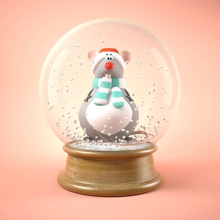 Mouse in snow ball 3D illustration