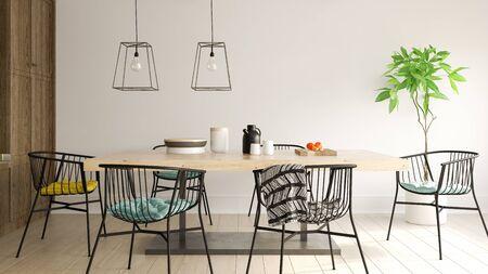 Interior of modern dining room 3D rendering Imagens
