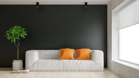 Interior of modern living room 3D rendering Imagens - 132293114