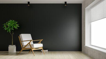 Interior of modern living room 3D rendering Imagens