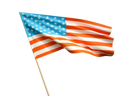 Waving USA flag on white background 3 D illustration