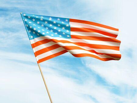 Waving USA flag on sky background 3 D illustration Imagens - 132293117