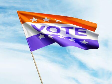 Waving Vote flag on sky background 3 D illustration