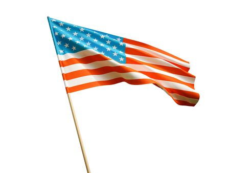 Waving USA flag on white background 3 D illustration Imagens - 132293119