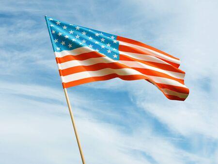 Waving USA flag on sky background 3 D illustration Imagens