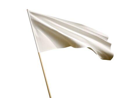 Waving white flag on white background 3 D illustration