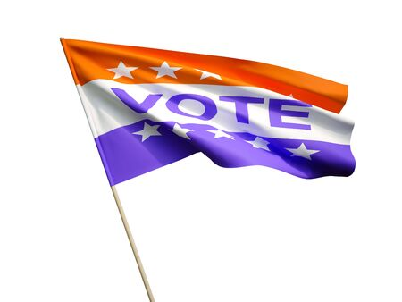 Waving Vote flag on white background 3 D illustration