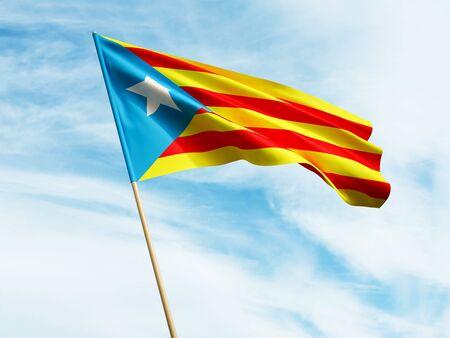 Waving Catalan flag on sky background 3 D illustration Imagens