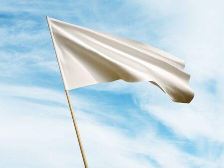 Waving white flag on sky background 3 D illustration