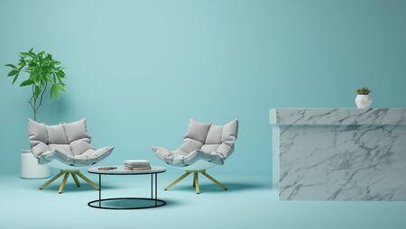 Interior of modern living room 3 D rendering Imagens - 132264538