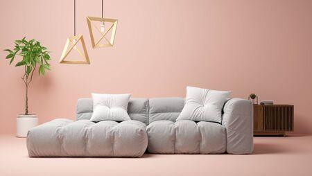 Interior of modern living room 3 D rendering Imagens - 132268782