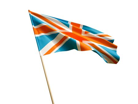 Waving UK flag on white background 3 D illustration Imagens - 132269765