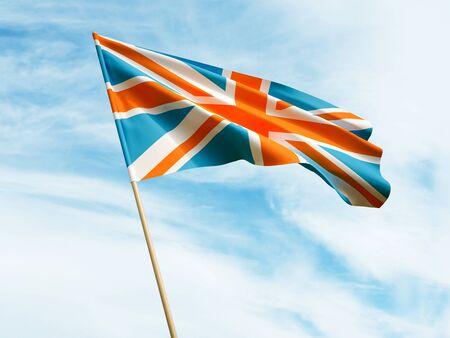 Waving UK flag on sky background 3 D illustration