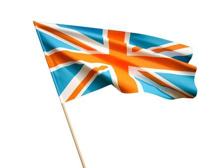 Waving UK flag on white background 3 D illustration