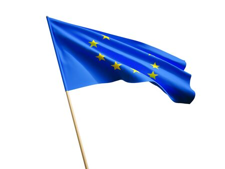 Waving European Union flag on white background 3 D illustration