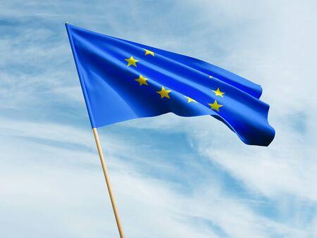 Waving European Union flag on sky background 3 D illustration Imagens