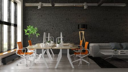 Interior of modern living room 3 D rendering Imagens - 132273435