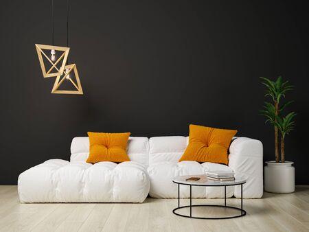 Interior of modern living room 3 D rendering Imagens - 132591933