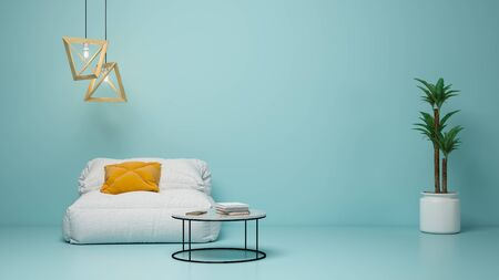 Interior of modern living room 3 D rendering Imagens - 132590911