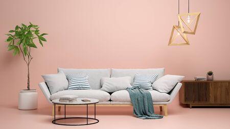 Interior of modern living room 3 D rendering Imagens - 132591690