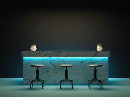 Interior room with bar counter 3 D rendering