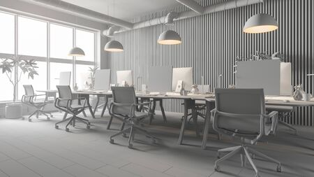 Interior of modern office room 3 D rendering Imagens - 132939338