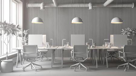 Interior of modern office room 3 D rendering