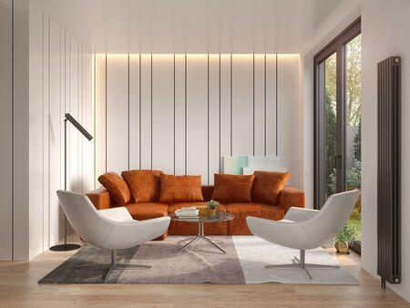 Interior de la moderna sala de estar render 3d