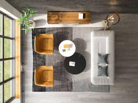 Interior of modern living room top view 3D rendering Imagens