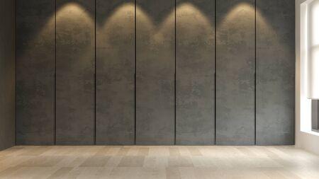 Black minimalist Interior of modern living room 3D rendering