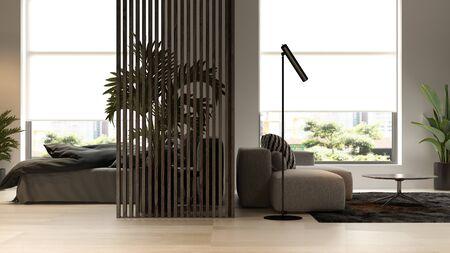 Black minimalist Interior of modern living room 3 D rendering