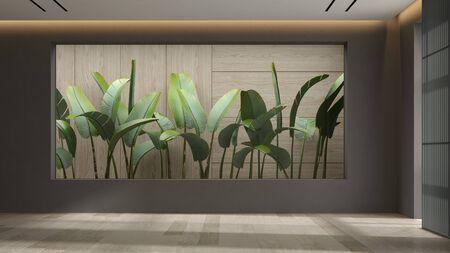 Minimalist Interior of modern living room 3 D rendering Stock Photo