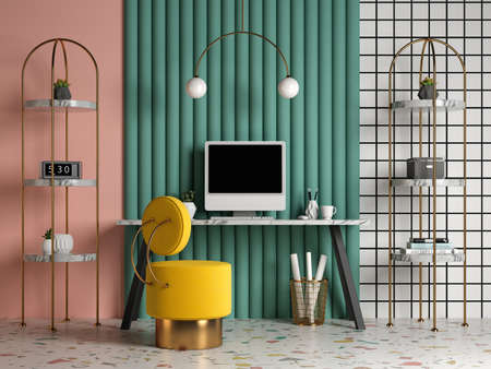 Memphis style conceptual interior Home office 3d illustration