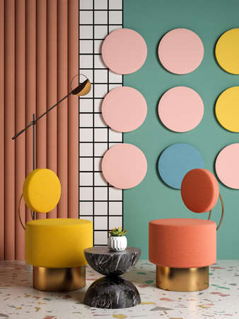 Memphis style conceptual interior room 3d illustration