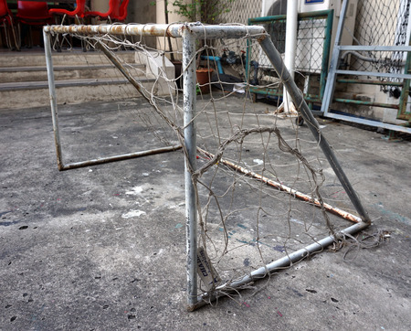 soccer net: Very old soccer net did not used for a long time in the university.