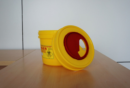hazardous waste: Hazardous container for radioactive waste used in the hospital. Stock Photo