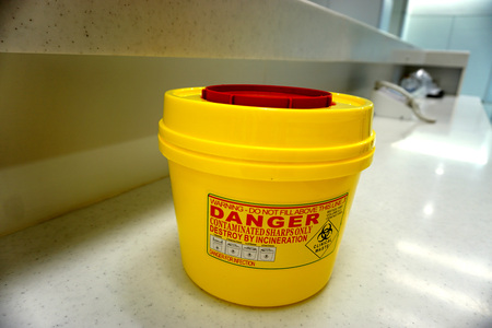 hazardous waste: Container of  hazardous waste used in the hospital. Stock Photo