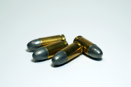 tazer: Bullets 9 mm isolated on the white background.
